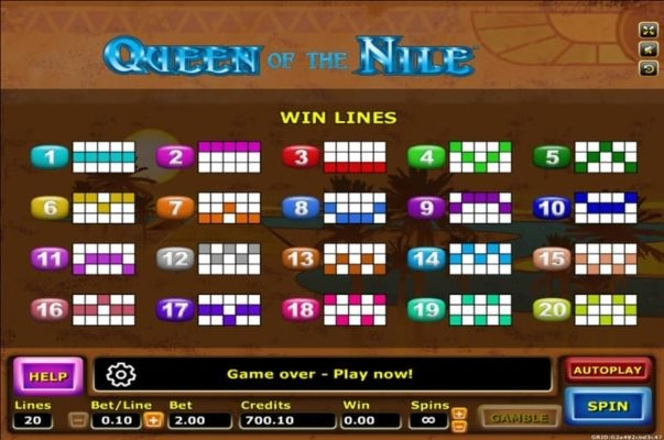 Autoslot-Joker Gaming-Queen of the nile ตารางการชนะ